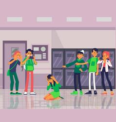 Teens or schoolboys offends a classmate flat vector