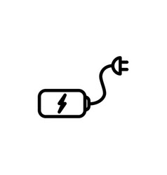 thin line battery with plug icon vector image