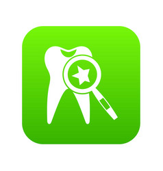 tooth with magnifying glass icon digital green vector image