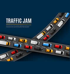 Traffic jam poster with cars driving road vector