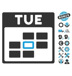 Tuesday Calendar Grid Icon With Bonus vector
