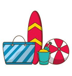 Vacations surfboard bag ball bucket vector