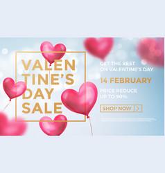 valentines day sale web banner valentine red vector image
