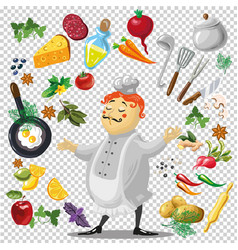 various utensils and vegetables vector image