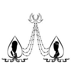 wedding flourishes silhouette 2 vector image