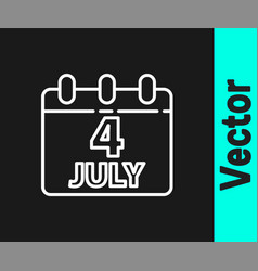 white line day calendar with date july 4 icon vector image