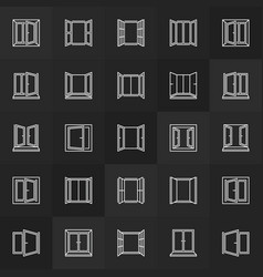 windows line icons collection window vector image