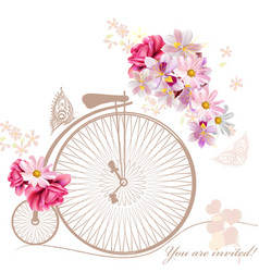 With art bicycle and flowers in vintage style vector