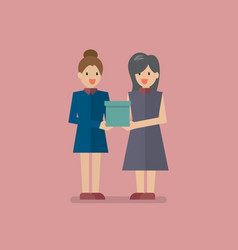 woman giving a gift box to another vector image