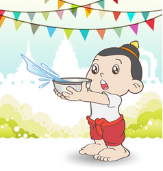 Young asian boy playing songkran festival vector