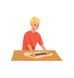 Young man rolling dough man in casual clothes vector