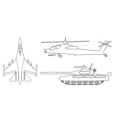 fighter aircraft tank helicopter outline vector image vector image