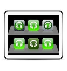 Headphones green app icons vector image