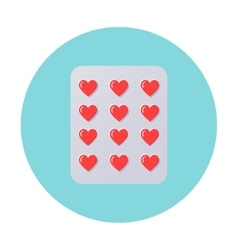 Heart pills in blister pack love therapy vector