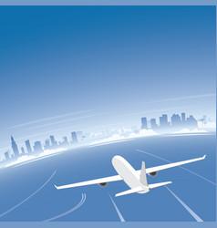 miami skyline flight destination vector image