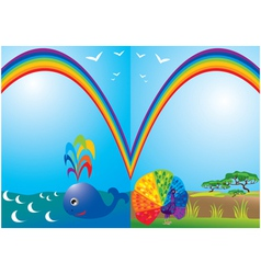Set of frames with rainbow whale and peacock vector image vector image