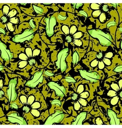 abstract grunge yellow flowers seamless background vector image vector image