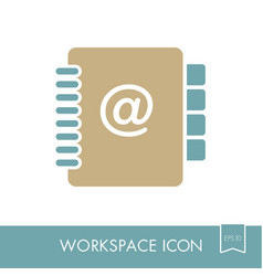 address book outline icon workspace sign vector image