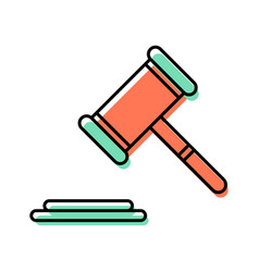 gavel line icon vector image vector image