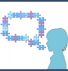 girl talks in jigsaw vector image vector image