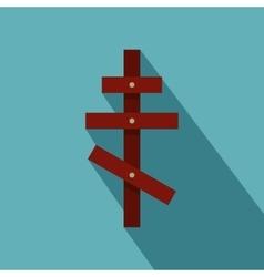 Orthodox cross icon flat style vector