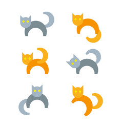 set of cartoon cats in different poses vector image