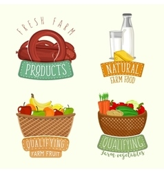 Set of logos design with farm organic products vector image vector image