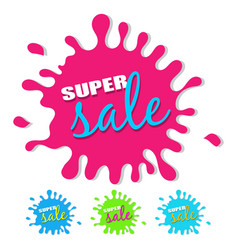 super sale splash with drop shadow isolated on vector image vector image