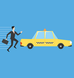 businessman running for taxi vector image