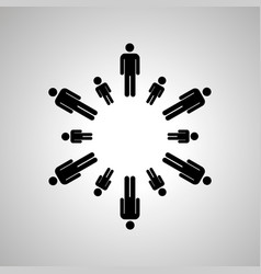 dads and sons silhouettes arranged in round dance vector image