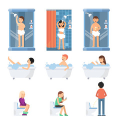 different funny people take a shower in bathroom vector image vector image