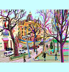 digital plein air painting of kiev street vector image