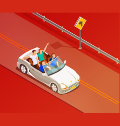 friends riding luxury car isometric poster vector image vector image