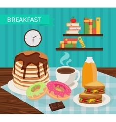 Meal tower breakfast poster vector