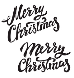 Merry Christmas Hand drawn lettering on light vector image