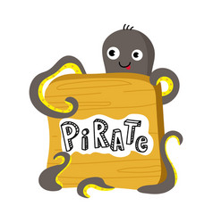 pirate isolated icon with octopus vector image vector image