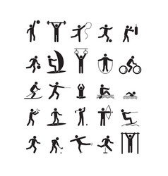 sport icon playing people black set vector image vector image