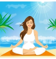 beautiful young woman sitting in yoga pose vector image