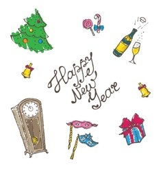doodle New Year elements set in sketch style vector image