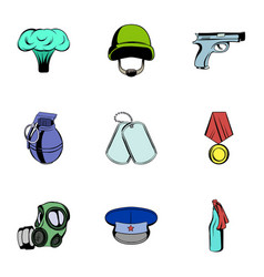 military theme icons set cartoon style vector image