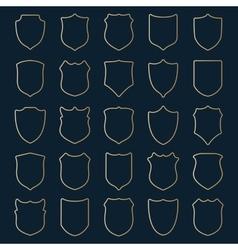 Set of golden contour shields vector