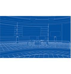 3d outline interior rendering of 3d vector image