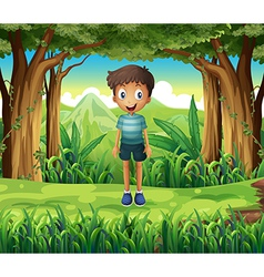 A smiling boy in the woods vector