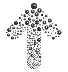 Ahead move arrow collage with clock vector