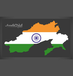 Arunachal pradesh map with indian national flag vector