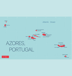 Azores islands portugal detailed editable map vector