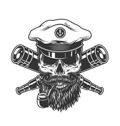 bearded and mustached sea captain skull vector image