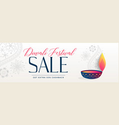 beautiful diwali sale banner decorative design vector image