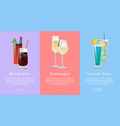 bloody mary and champagne at summer party vector image