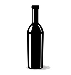bottle of wine black drawing vector image